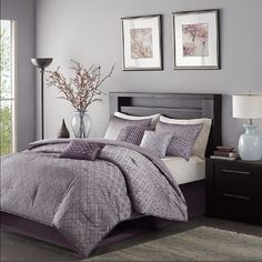 Biloxi in Purple, White and Cream Comforter Sets by Madison Park