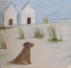 Dog and Beach Huts, by Hannah Cole. She's based in Brighton, England, and this is typical of her quirky English seaside scenes. (There is a near-identical painting titled Still Waiting, which has a red ball at the dog's feet. Greetings cards feature her work but you can also buy prints and originals.