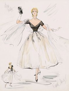 """Grace Kelly fashion design sketch by the amazing Edith Head. If I'm not mistaken, it's a costume from """"Rear Window."""""""