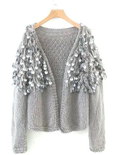 Goodnight Macaroon 'Roxie' Mohair Sequinned Open-Front Cardigan Available in 4 colors Sequinned open cardigan Loose rib knit Made from mohair and sequins Mohair Cardigan, Strick Cardigan, Open Front Cardigan, Ladies Dress Design, Refashion, Rib Knit, Winter Outfits, Knitwear, Glamour