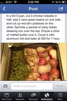 Chicken, red potato & green beans Season with grill mates seasoning packets