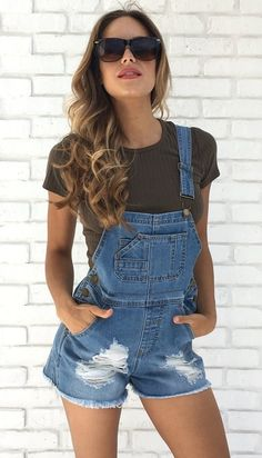 summer outfits  Black Tee   Ripped Denim Overall