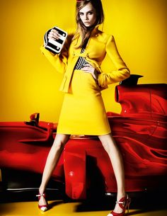 Model Cara Delevingne captured by Mario Testino for Vogue UK March 2013 edition. Photo shoot Fashion Editor: Lucinda Chambers, Hair stylist - Sam McKnight, Make. Mario Testino, Yellow Fashion, Colorful Fashion, Trendy Fashion, High Fashion, Womens Fashion, Fashion Trends, Vogue Uk, Vogue Photo