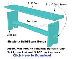 "All you will need to build this bench is a 2x12, a 2x4, and 3 1/2"" deck screws. Simple DIY project can be completed in a couple of hours."
