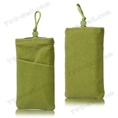 Plush Pouch Bag for Samsung Galaxy S 3 / III I9300 I747 L710 T999 I535 R530 Bead Button Closure - Green