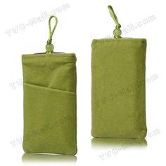 Plush Pouch Bag for Samsung Galaxy S 3 / III I9300 I747 L710 T999 I535 R530 Bead Button Closure - Green