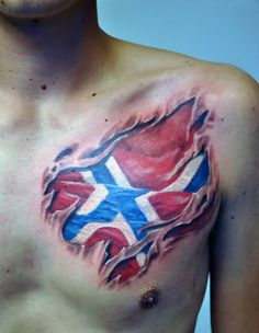3D Norsk Flag Skin Rip Tattoo On Chest - Tattoo Ideas