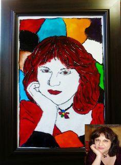 Portrait- Tiffany-Glass Painting-Art Nouveau Custom Made- Men, Women,Children, Pets- gift for any occasion with frame - pinned by pin4etsy.com