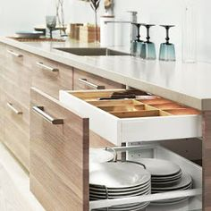 Dark, light, oak, maple, cherry cabinetry and kitchen cabinet doors raw wood. CHECK THE PICTURE for Lots of Wood Kitchen Cabinets. Ikea Kitchen Cabinets, Kitchen Cabinet Storage, Kitchen Cabinet Design, Kitchen Organization, Organized Kitchen, Storage Cabinets, Kitchen Drawers, Organization Ideas, Kitchen Counters