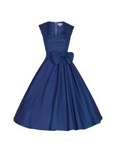 Modré retro šaty s mašlí Lindy Bop Grace Blanka Straka.jpg