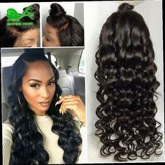 42.22$  Watch now - http://alinha.worldwells.pw/go.php?t=32770042656 - 8a Fashion Beauty Female Natural Wave Natural Black Heat Resistant Hair Synthetic Lace Front Wigs With Baby Hair Full Lace Wigs