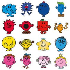 Little Miss & Mr Men Printable Sheet Little Miss Characters, Book Characters, Shape Pictures, Guy Pictures, Mister And Misses, Mr Men Little Miss, Monsieur Madame, Little Miss Sunshine, Birthday Images