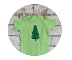 Pine Tree Baby Onepiece Bodysuit Lime Green and by CausticThreads