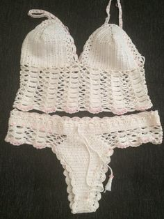 Knitted set Underwear Set Crochet bikini by RavvinskaCrochets