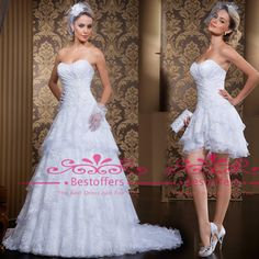 Wholesale Vestidos De Noiva A line wedding dress with pleats sweetheart detachable Layered skirt Beaded Court Train short and long Bridal Gowns LT66, Free shipping, $140.63/Piece | DHgate Mobile