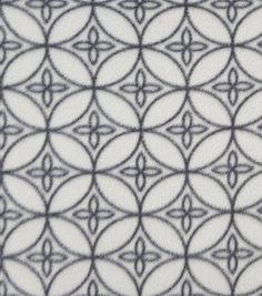 Anti Pill Fleece Fabric 57''-Gray on Gray Geometric Circles