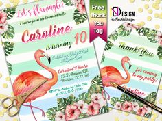 Flamingo Birthday Invitation FREE Thank You tag, Tropical Birthday Invitation, Summer Invitation, Luau Birthday Invitation, Beach Invitation by IrisNaiderDesign on Etsy Luau Birthday Invitations, Beach Invitations, Personalized Invitations, Flamingo Birthday, Thank You Tags, Tropical, Templates, Summer, Free