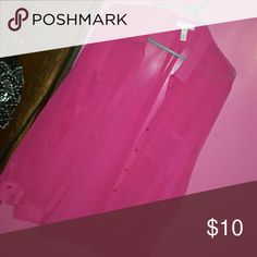 Pink sheer button up top Very cute and breathable Tops Button Down Shirts