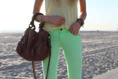 Mint Green Trousers and Brown Gypsy Bag