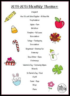 Yearly themes list to send out at the beginning of the year. Lesson Plans For Toddlers, Preschool Lesson Plans, Preschool At Home, Preschool Curriculum, Preschool Learning, Kindergarten Classroom, Preschool Activities, Preschool Forms, Homeschooling