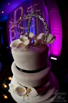 Single Letter Cake Topper in white and purple (black can be used instead) by Toppers With Glitz.