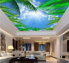 beibehang Custom Wallpaper Home Decorative Murals Aesthetic Blue Sky White Clouds Coco Seaweed Sunlight Ceiling Zenith Mural Hotel Ceiling, Cloud Ceiling, Ceiling Murals, Floor Murals, Wall Murals, Ceiling Ideas, Wallpaper Ceiling, Custom Wallpaper, Photo Wallpaper