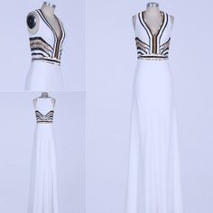 White,Silver,Black&Gold 1920s Needlework Chiffon Formal Evening Ball Dress , sizes 6 -14 PROM