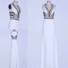 White,Silver,Black&Gold 1920s Needlework Chiffon Formal Evening Ball Dress , sizes 6 -14 PROM