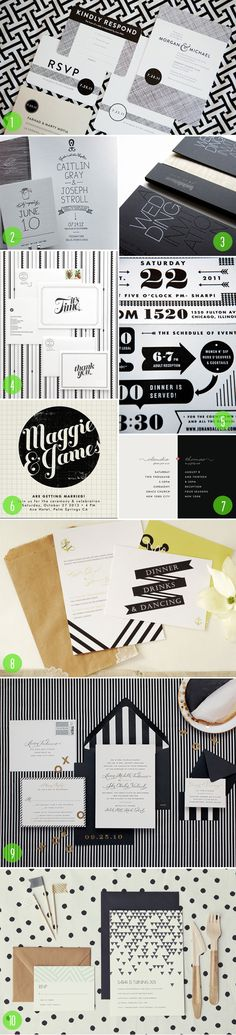 top 10: black and white wedding invitations