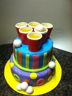 21st birthday beer pong cake! by francisca
