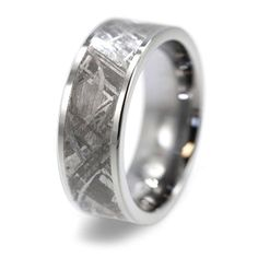 Gibeon Meteorite Ring inlaid in Tungsten Carbide by jewelrybyjohan