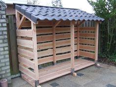 Verplaatsbare houtberging met donkergrijze dakpannen - Tuin en Haard