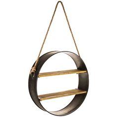 Round Natural & Brown Metal Shelf with Rope