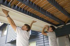 installing v-panels for dry space under - Deck Storage - Ideas of Deck Storage Under Deck Roofing, Patio Under Decks, Decks And Porches, Deck Patio, Shed Under Deck Ideas, Under Deck Enclosure Ideas, Under Deck Landscaping, Deck Ceiling Ideas, Under Deck Ceiling