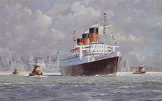 Queen Mary I (1936), Cunard Line, GB, entrando en Nueva Tork en su último viaje en 1967