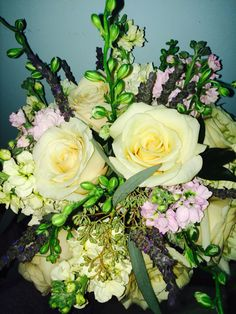 Cream roses, stock, larkspur and fresh lavender. Perfect bridal bouquet!!! flowers by Carole NY