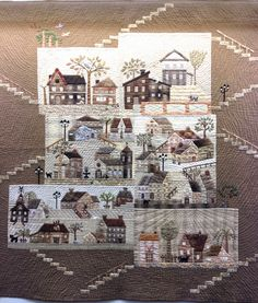 At the European Patchwork Meeting in Alsace, France, Quiltmania presented an exhibition called Variations of Yoko Saito& Mystery Q. House Quilt Patterns, House Quilt Block, House Quilts, Quilt Blocks, Yoko Saito, Landscape Art Quilts, Hanging Quilts, Applique Quilts, Hand Applique