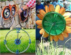 déco jardin avec des objets de récup roue de vélo