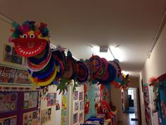 Chinese Dragon. Whole school collaborative art. Each child decorated a paper plate