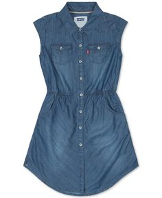 Levi's Sleeveless Denim Shirtdress, Girls