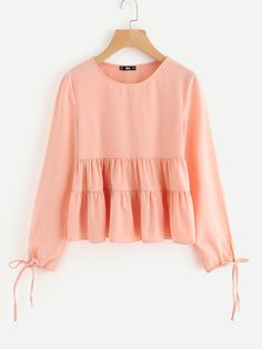 Shein Drawstring Tie Cuff Tiered Blouse Source by blouses style Kids Outfits Girls, Girl Outfits, Cute Outfits, Tween Fashion, Girl Fashion, Fashion Dresses, Casual School Outfits, Simple Outfits, Girls Short Dresses