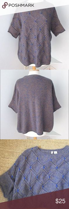 Anthropologie Blue Diamond Oversized Sweater This Sweater shirt purchased at Anthropologie is their Moth line. Size M/L, easy to wear by itself or over a dress! In great condition, no pilling. From a smoke free home. I am a size 0 and loved this size because of the extra oversized option it gave me. Blue a taupe yarns (looks like faded purple from far away) with a pop of bright blue. Anthropologie Sweaters Cardigans