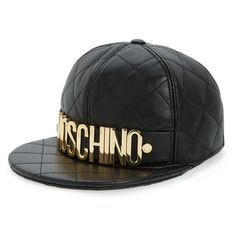 Women's Moschino Quilted Leather Baseball Cap ($495) ❤ liked on Polyvore featuring accessories, hats, fantasy print black, baseball caps, baseball cap hats, couture hats, logo ball caps and ball cap