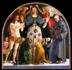 Luca Signorelli (1445 – 1523) Madonna of Mercy and Saints Sebastian and Bernardino da Siena ca. 1490.  Museo Diocesano di Pienza.