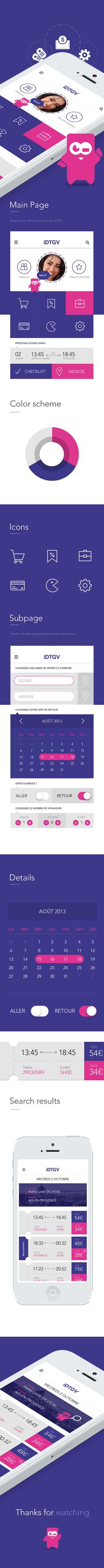 iOS7 Proposal iDTGV by Michal Parulski, via Behance