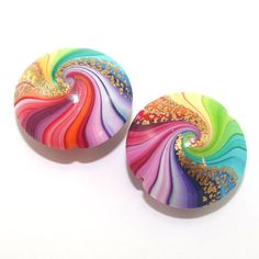 Polymer Clay beads in rainbow colors unique by ShuliDesigns, $10.00