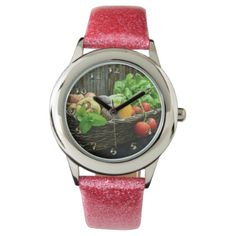Thanksgiving Vegetable Harvest in a Basket Wrist Watch - thanksgiving day family holiday decor design idea