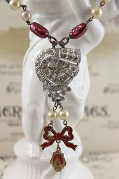 Romantic Red Pearls, Vintage Religious Medal, Art Deco Rhinestone Assemblage Altered Necklace