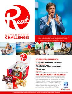 Feeling the holiday bloat? Need to detox? Want to lose weight? Join me, Dr. Oz and hundreds of men and women in an amazing reset and health transformation this Weight Loss Goals, Weight Loss Journey, Healthy Weight Loss, Usana Reset, Detox Kit, Start Program, Guest Speakers, Free Travel, Lifestyle Changes