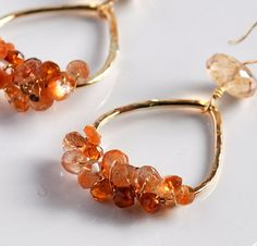 Sunstone and Tourmaline Glowing Gold Fill Earrings   by theori, $55.00